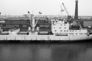 B&W Ship in port